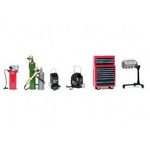 Shop Tools: Welder, Air Comp, Battery Charger & Tool Box